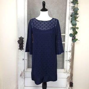 Laundry Shelli Segal navy blue lace shift dress 6